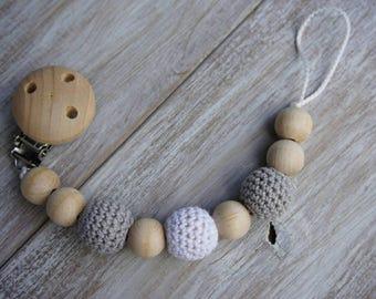 Crochet Wooden Pacifier Clip
