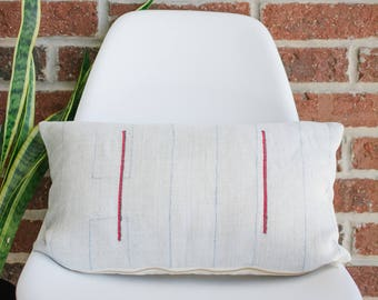 Hmong Hemp Stripe Lumbar 506/ Authentic Hemp/ Handmade Pillow Cover/ Modern Pillow/ Vintage/ Bohemian Modern/ Lumbar Pillow