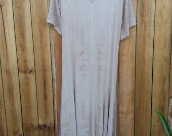 Viscose Cream/Blush Embroidered Dress