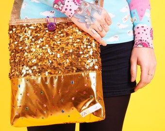 Glittering sequined handbag metallic gold glitter-Kinky collection