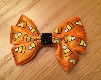 Candy Corn Orange Bow with Black Sparkly Ribbon