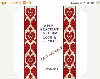 SALE50%OFF Red heart bracelet Patterns for beading Tutorial beaded pattern Fast and easy Jewelry making Love bracelet Pdf pattern Peyote bra
