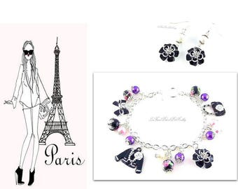 Finery bracelet bracelet charms and pearl mode of Paris and pink buckles paste