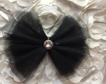 Tulle Bow with Rhinestone Accent