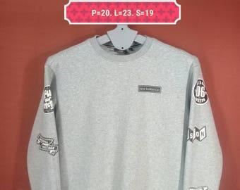Vintage New Balance Sweatshirt Sleeve Patches Shirt Gray Colour Size S Adidas Sweatshirts Nike Sweatshirts Boston Baseball