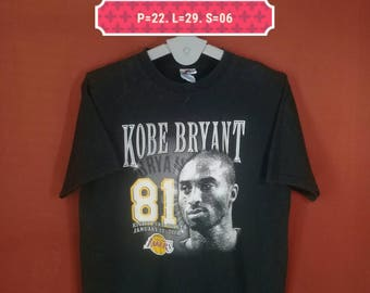 Vintage Kobe Bryant Tee Majestic Shirt Kobe Face Front Shirt Black Colour Size L Made USA Lakers Shirts