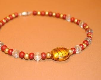 Glass & Wood Bead Choker Necklace