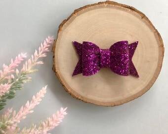 Magenta GlitterBow, Glitter Bow, Purple Bow