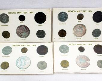 1964 Mexico Mint 6 Coin Set Mexican Money Silver Dollar Peso Centavo Cinquenta
