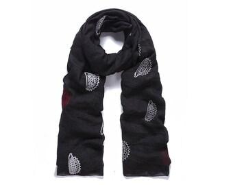 Black hedgehog embroidered long scarf