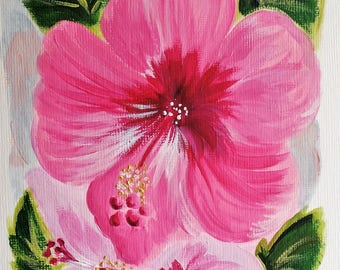 Hibiscus | original painting | acrylic on canvas | flower art | flower painting | wall art |