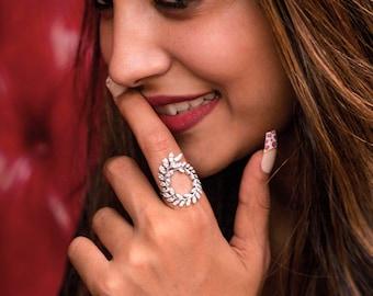 The Verve Ring, 18K White Gold Ring, Diamond Statement Ring