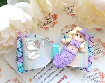 Mermaid Hair Bow - glitter bow - mermaids - hair bow - hair accessories