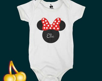Minnie Body or Head Silhouette Personalised Bodysuit / Romper / One Piece / T-shirt