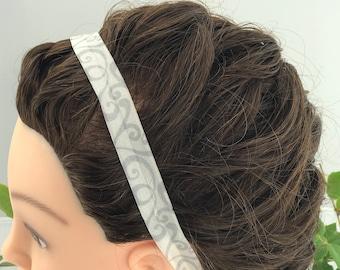 Headband - Grey with White Swirls Print
