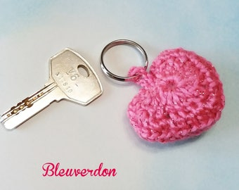 Jewelry bag or key ring hand crocheted pink heart