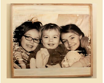 Custom Photo Pallet Board Wall Art  with Distressed Wood Frame
