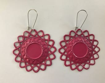 Painted Lightweight Filigree Earrings - 2x2 inch