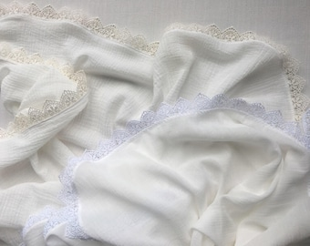 White Lace Single Layer Swaddle, baby blanket, muslin, soft, baby shower gift