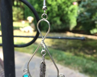 Dark and Ligt Blue Dangle Earrings with Silver Feather