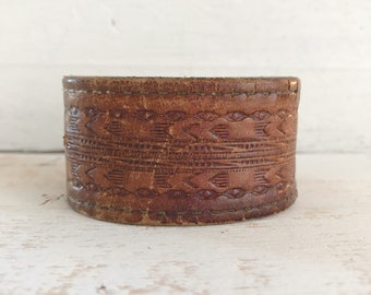 Upcycled Embossed Leather Cuff