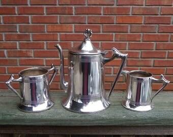 Vtg 3 Pc Silverplate Tea Set-Sheffield Plate USA-Teapot-Creamer-Bowl #851