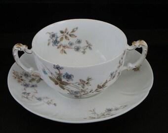 Antique 2-Handled Soup Bowl & Saucer-Haviland-Limoges-Blue Flowers-c 1880s-1890s