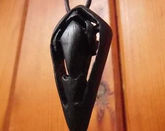 Bog Oak necklace, pendant necklace, wooden pendant,  boho style, holistic, lucky charm (W26)