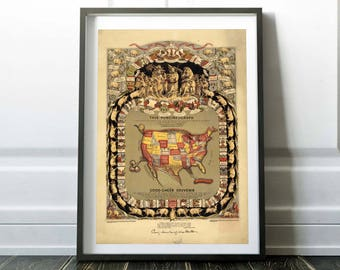 U.S map in shape of a pig. Digital print. 1876 Vintage art print. Vintage lithograph poster. American art print. Wall decor. Vintage gift.