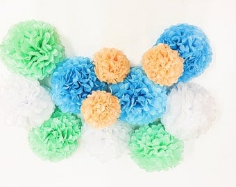 "12 tissue paper Pom Poms 8"" 10"" 12"" 14"" Wedding Party Flower event decoration"