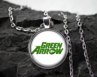 Green Arrow Glass Pendant superhero green arrow necklace green arrow jewelry photo pendant art pendant photo jewelry glass bezel jewelry