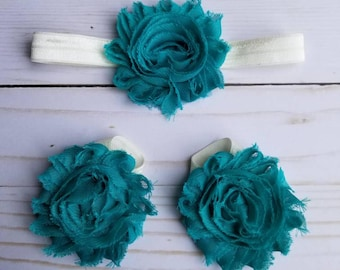 Teal and ivory headband and barefoot set