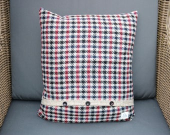 Luxury Abraham Moon Wool Tweed Houndstooth Decorative Cushion, Handmade in West Yorkshire, UK. Other colours available.