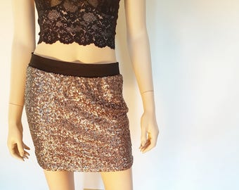 silver sequin mini skirt