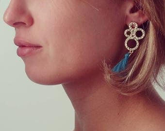earring hoops gold and blue tassel