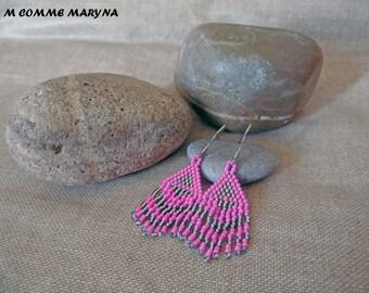 Earrings beads Miyuki handwoven small boho chic Bohemian pink and silver peyote