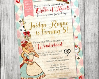 Alice in Wonderland Vintage Invitation