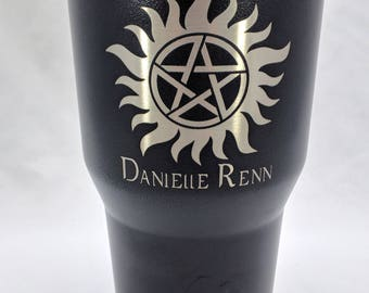 Personalized Laser Etched Supernatural Anti possession SS Tumbler Cup