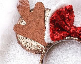 Reindeer Minnie inspired Mouse Ears,Christmas Minnie Ears ,Christmas Disney Minnie Mouse Ears ,Christmas Mickey Ears