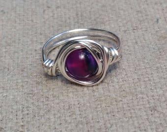 Purple Agate Silver-Plated Wire Wrapped Ring