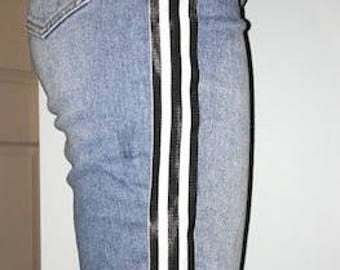 high wasited skinny jeans with side stripes