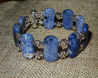 Natural Sodalite and sterling silver double stranded bracelet