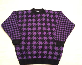 Houndstooth Sweater. Vintage Ugly Sweater. Purple Sweater. Vintage Sweater. 80s Sweater. Ugly Sweater. Vintage 80s. Houndstooth. 1980s