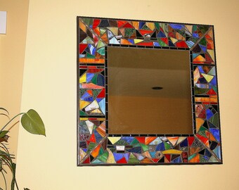 "18"" Stained glass mosaic mirror in ""Wild Thing"" design"