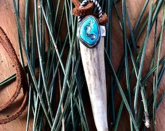 Turquoise Nugget Embellished Antler Tip Pendant