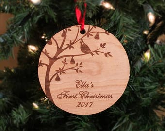 First Christmas, Ornament, Babies first Christmas, Partridge, Pear Tree, Wood, Christmas, Gift, Child,
