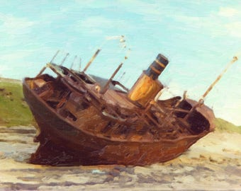 Rusty old ship done in oils