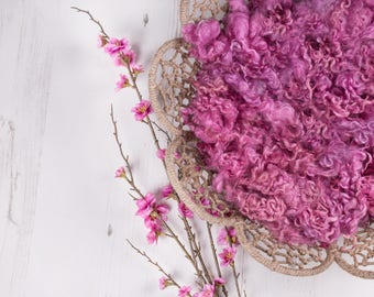 """Texture Fluff """"Raspberry Fizz"""", loose locks, basket stuffer, wool fluff, newborn prop, natural wool locks - raspberry pink, naturally dyed"""