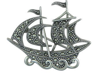 Marcasite Galleon Sterling Silver Brooch