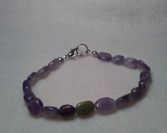 Peridot and Amethyst Beaded bracelet